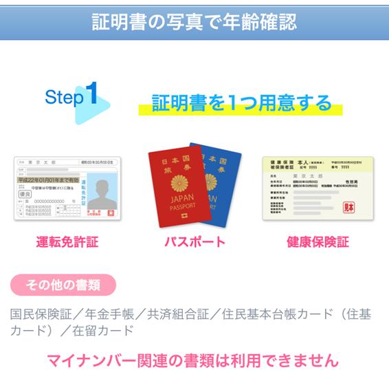 やれるアプリYYCの身分証明書送付説明画面